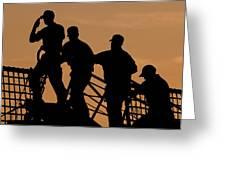 Crewmen Salute The American Flag Greeting Card by Stocktrek Images