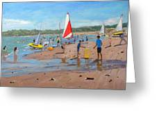 Cricket And Red And White Sail Greeting Card