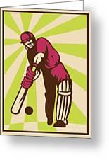 Cricket Sports Batsman Batting Retro Greeting Card