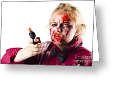 Criminal Zombie Pointing Revolver Greeting Card