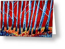 Crimson Birch Trees Greeting Card