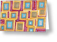 Crimson Gold And Squares  Greeting Card