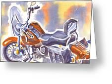 Crimson Motorcycle In Watercolor Greeting Card