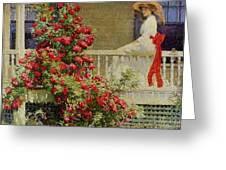 Crimson Rambler Greeting Card by Philip Leslie Hale