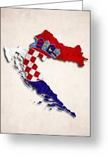 Croatia Map Art With Flag Design Greeting Card