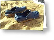 Crocs Shoes On Sandy Point Beach Greeting Card