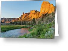 Crooked River And Monkey Face At Smith Rock Greeting Card