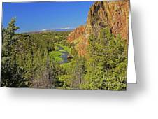 Crooked River And Mt Hood Oregon Greeting Card