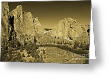 Crooked River At Smith Rock State Park Sepia Greeting Card