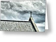 Cross Against An Angry Sky Greeting Card