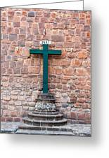 Cross And Cusco Cathedreal Greeting Card