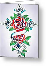 Cross And Roses Tattoo Greeting Card