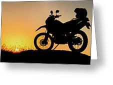 Cross-country Motorbike And Stony, Traveling In Tough Roads Greeting Card