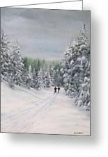 Cross Country Skiers Greeting Card by Ken Ahlering