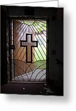 Cross On Church Door Open To Prison Yard Greeting Card