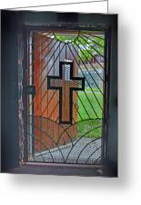 Cross On Church Door Open To Prison Yard With Light Greeting Card