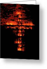 Cross On Fire Greeting Card