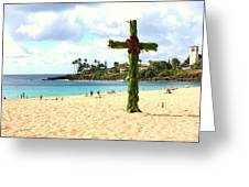 Cross In The Sand Greeting Card