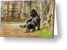 Cross River Pregnant Gorilla And Children Greeting Card