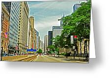 Crossing Chicago's South Michigan Avenue Greeting Card