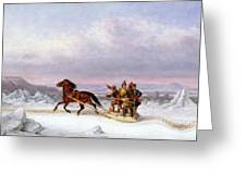 Crossing The Saint Lawrence From Levis To Quebec On A Sleigh Greeting Card by Cornelius Krieghoff