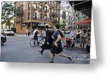 Crossing The Street In Dumbo Greeting Card