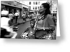 Crossing The Street Mono Greeting Card
