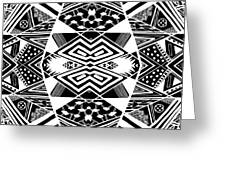 Crossroads To Ornamental - Abstract Black And White Graphic Drawing Greeting Card