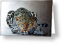 Crouching Leopard Greeting Card