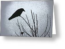 Crow And The Moon Greeting Card