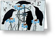 Crow Flowers Greeting Card