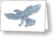 Crow Flying Mandala Greeting Card