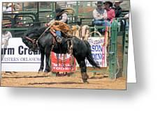 Crow Hopping Saddle Bronc Greeting Card