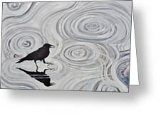 Crow In A Rain Puddle Greeting Card