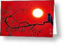 Crow In Crimson Sunset Greeting Card