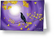 Crow In Ginkgo Leaves Greeting Card