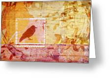 Crow In Orange And Pink Greeting Card