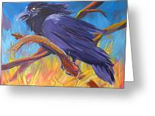 Crow In The Grass 5 Greeting Card