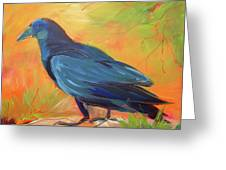 Crow In The Grass 7 Greeting Card