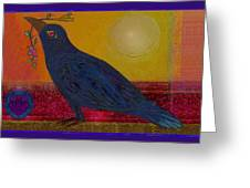Crow In The Sun Greeting Card