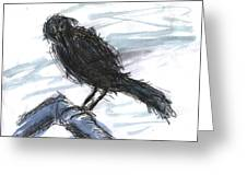 Crow In The Wind Greeting Card