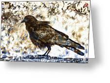 Crow On Blue Rocks Greeting Card