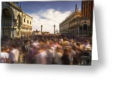 Crowded On St. Mark's Square Greeting Card