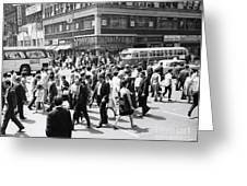 Crowded Street, Nyc, C.1960s Greeting Card