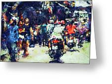 Crowded Street Greeting Card
