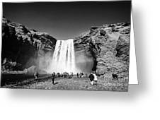 Crowds Of Tourists At Skogafoss Waterfall In Iceland Greeting Card