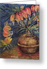 Crown Imperial Fritillaries In A Copper Vase Copy Greeting Card