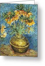 Crown Imperial Fritillaries In A Copper Vase Greeting Card
