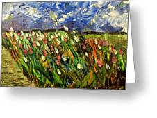 Crows Flying Over Tulips Greeting Card