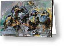 Crows In A Row Greeting Card